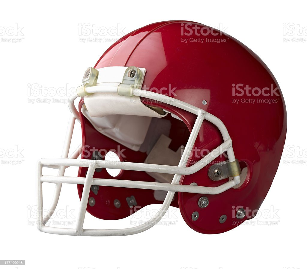 Red football helmet isolated on white background stock photo