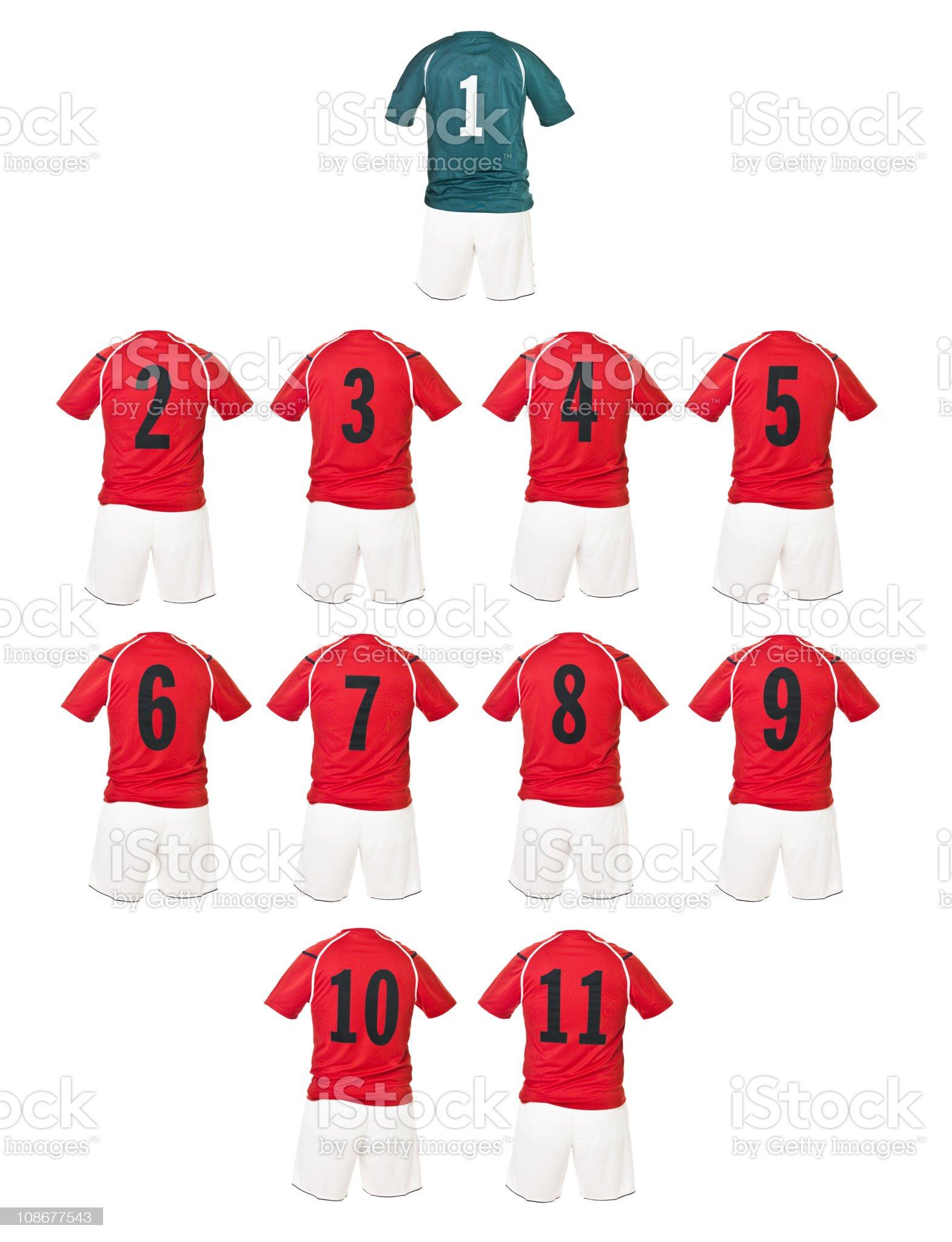 Red Football team shirts royalty-free stock photo