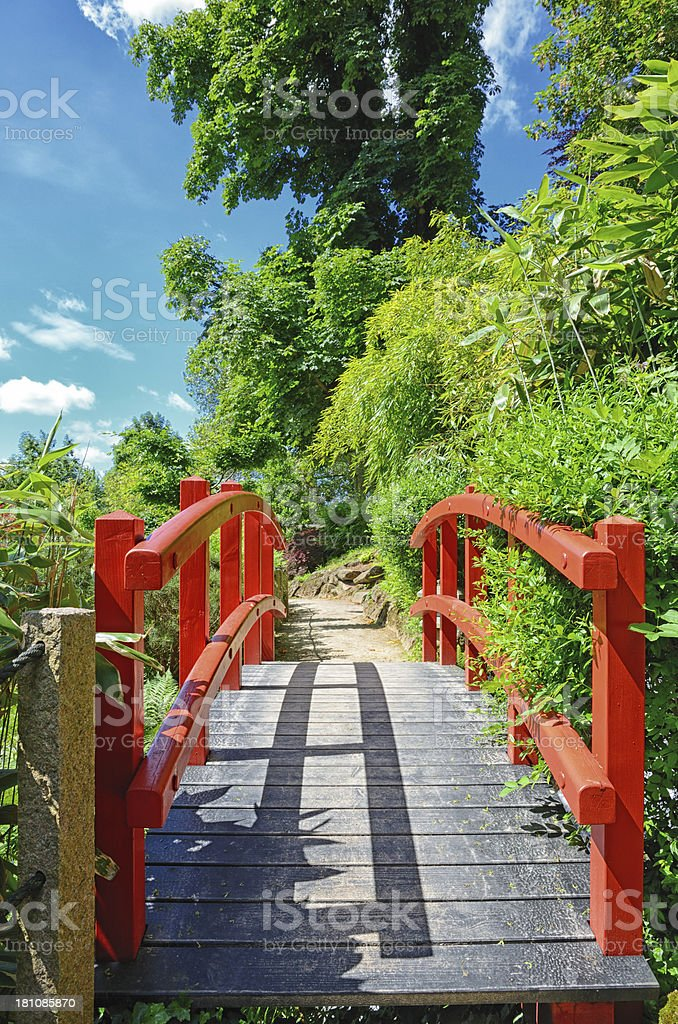 Red footbridge in japanese garden royalty-free stock photo