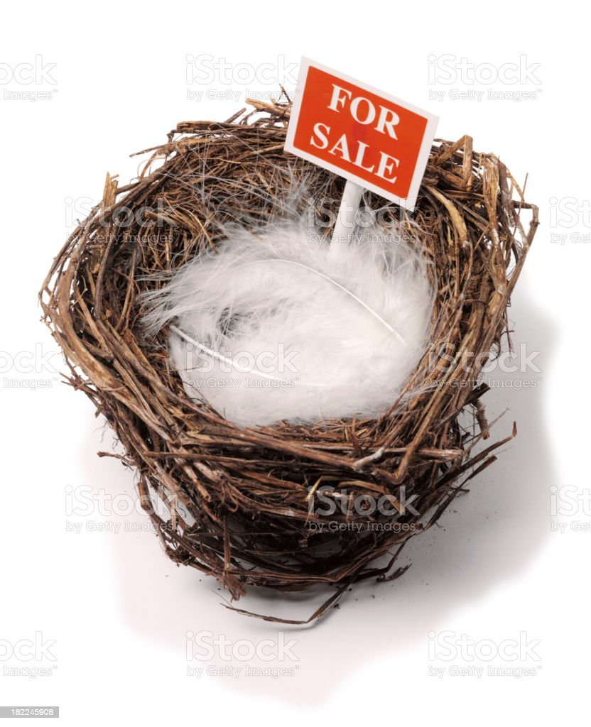 Red For Sale Sign in a Bird's Nest stock photo