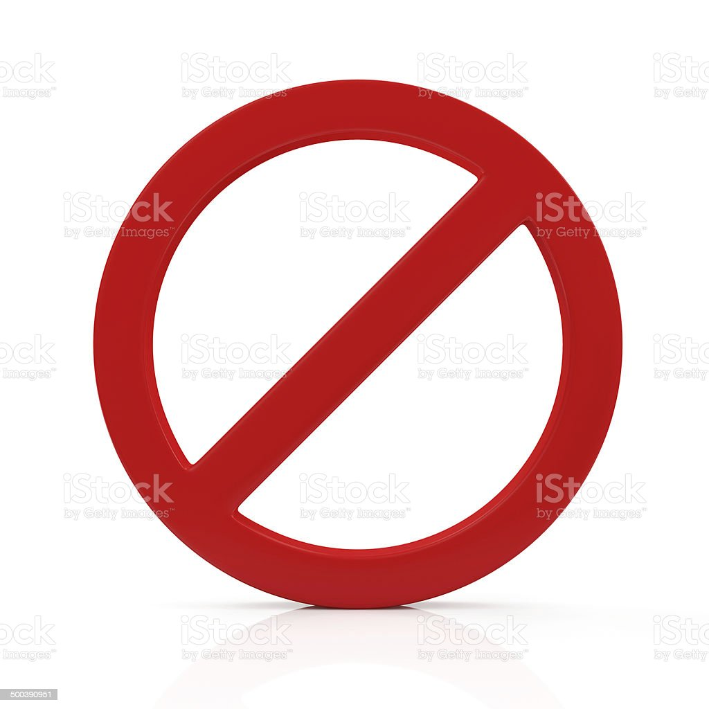 Red Forbidden Symbol isolated on white background stock photo