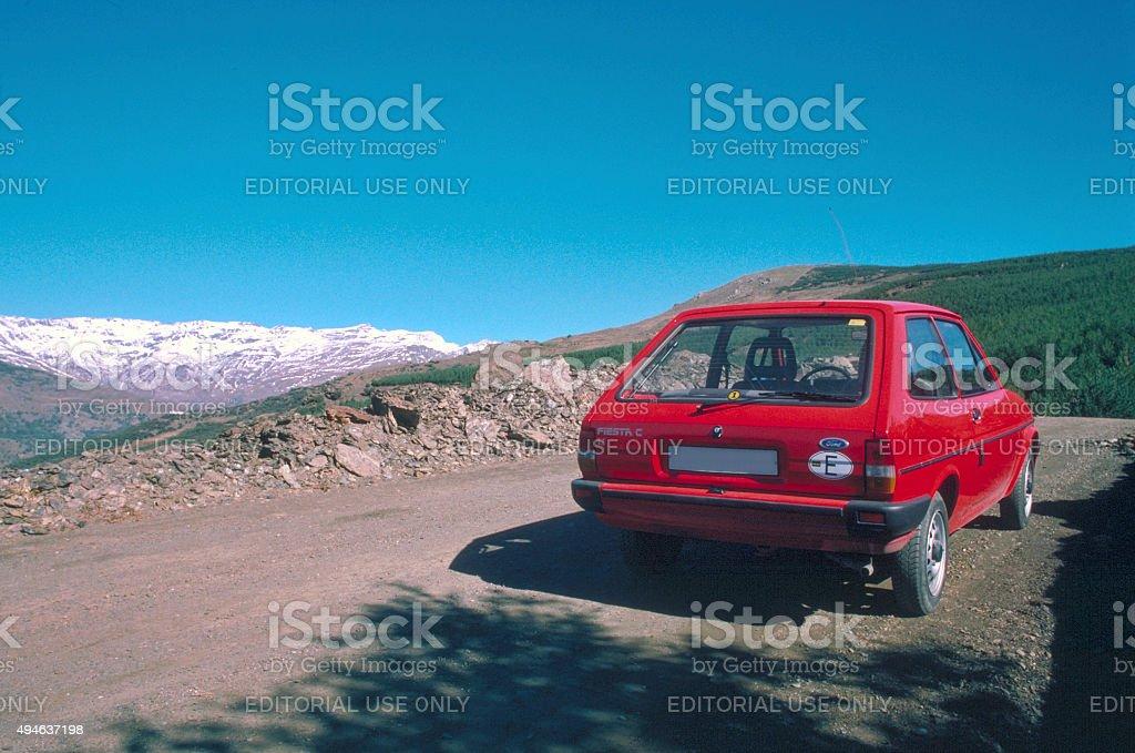 Red Ford Fiesta 1.1 C in Sierra Nevada Spain 1988 stock photo