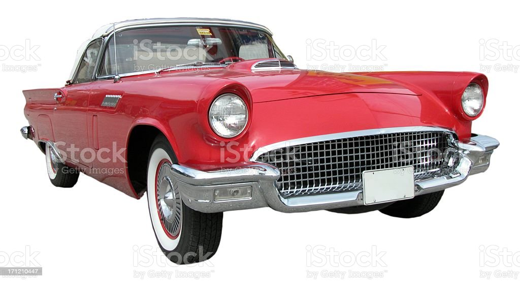 Red Ford TBird in white background stock photo