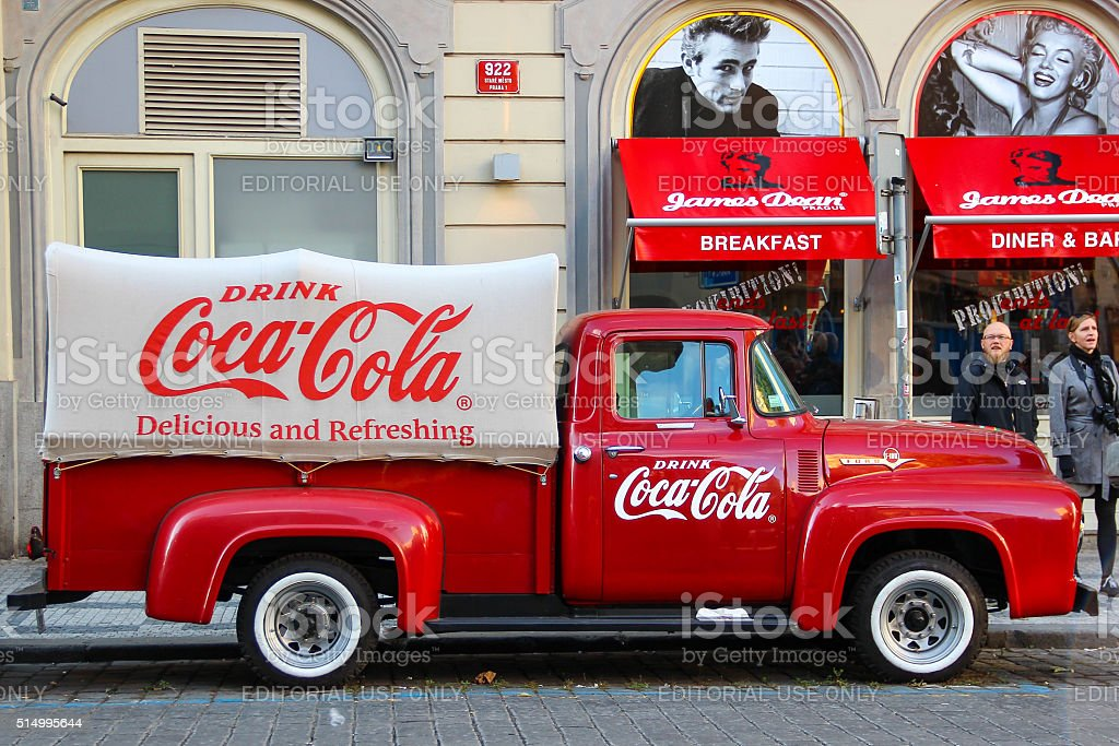 Red Ford vintage Coca cola truck (pickup) stock photo