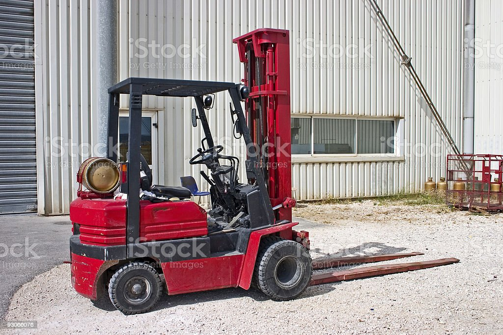 Red forklift royalty-free stock photo