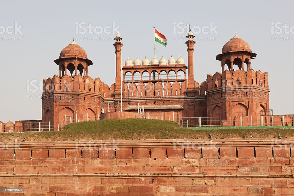 red fort castle gates at new delhi india royalty-free stock photo