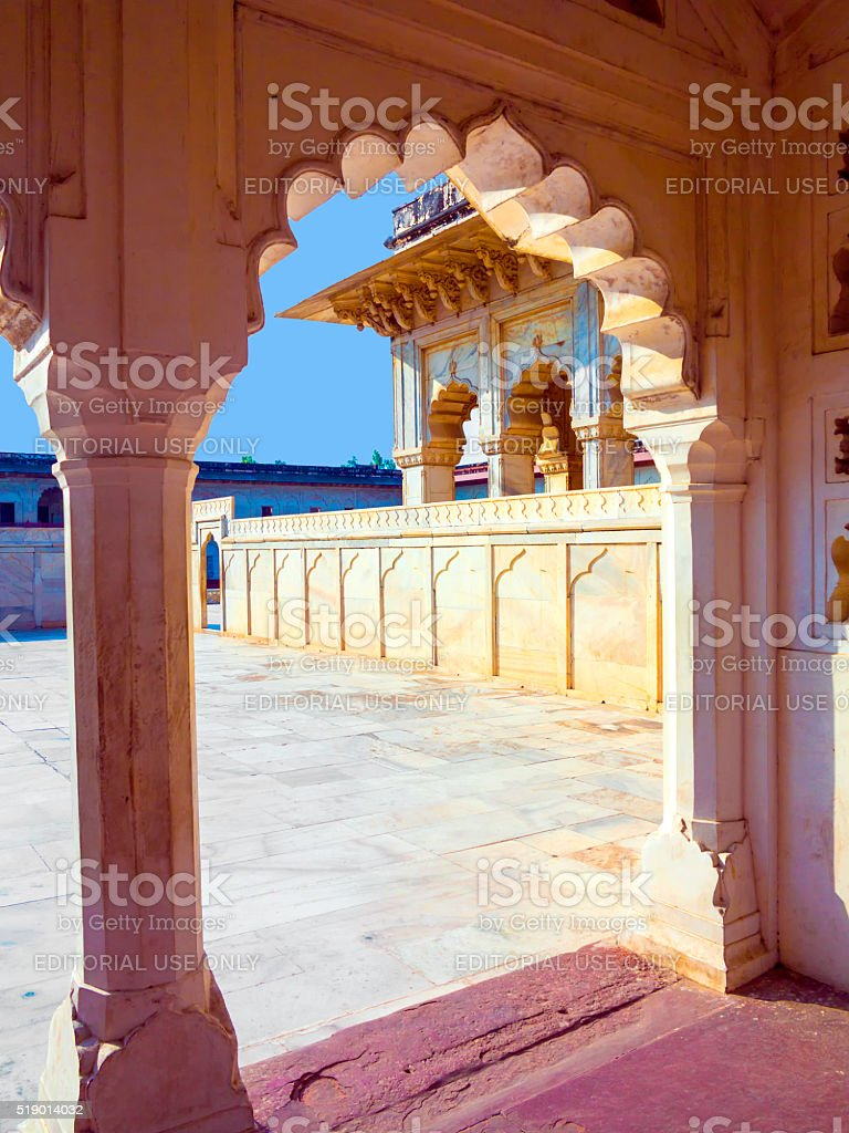 Red Fort in Agra, Amar Singh Gate, India, Uttar Pradesh stock photo