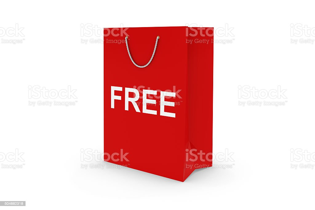 Red FREE Paper Shopping Bag Isolated on White stock photo