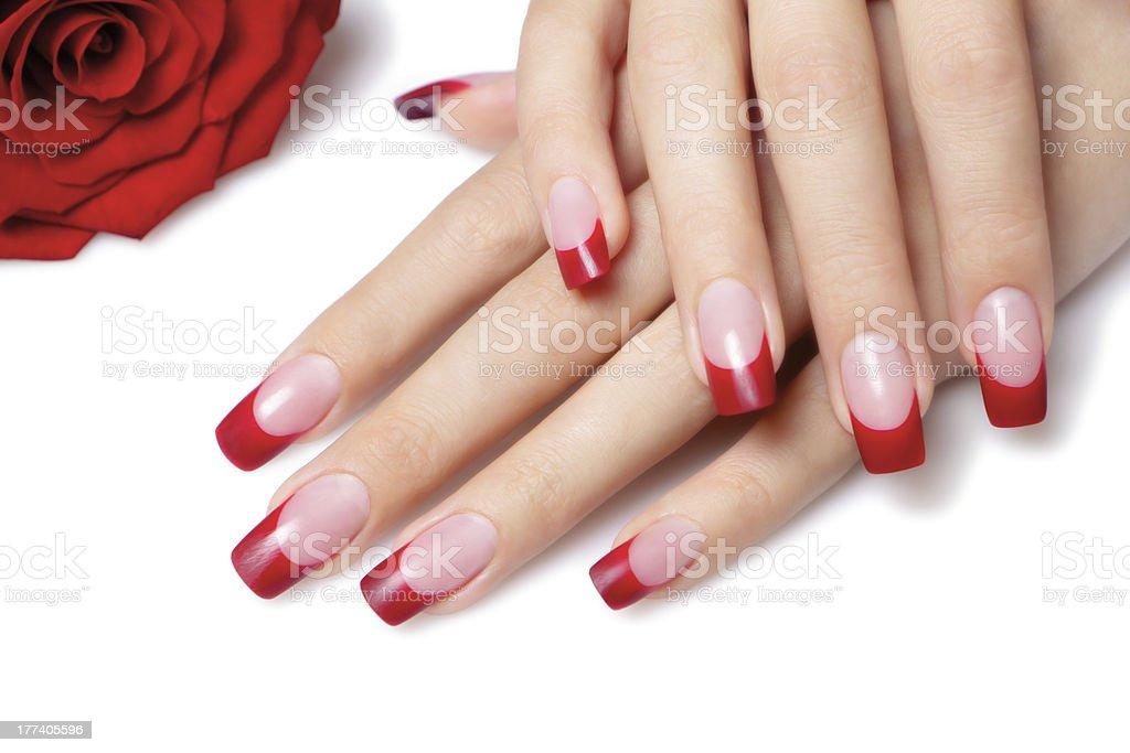 Red french manicure. stock photo