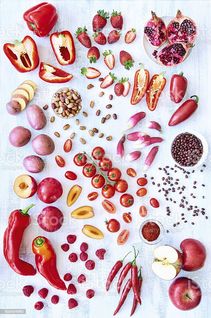 Red fresh produce vegetables and fruits stock photo