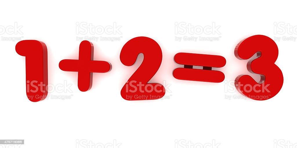 1+2 Red Fridge Magnet Sum stock photo