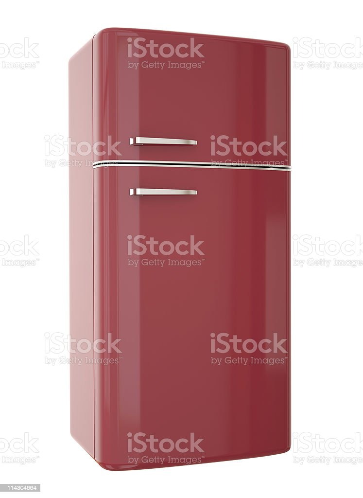 Red fridge, retro style refrigerator stock photo