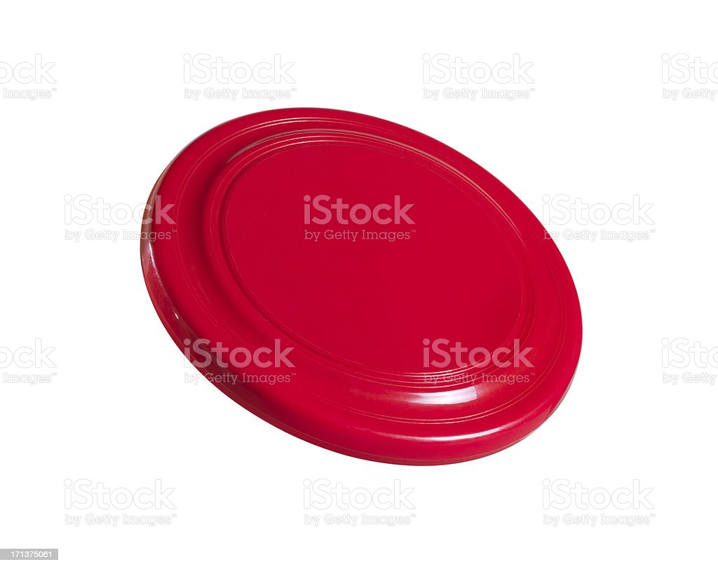 A red Frisbee on a plain white background  stock photo