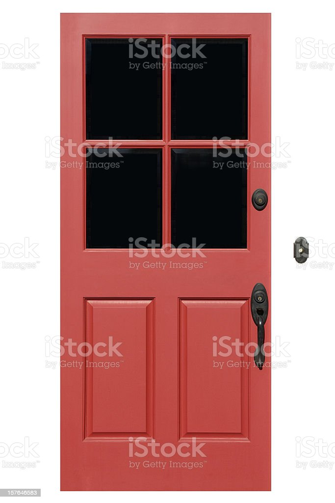 Red Front Door With Clipping Path stock photo