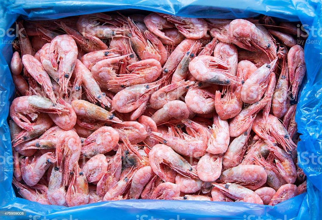 Red frozen shrimps stock photo