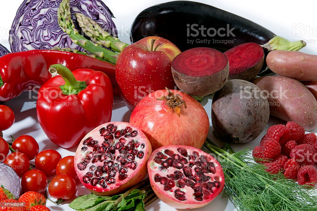 red fruit and vegetables stock photo