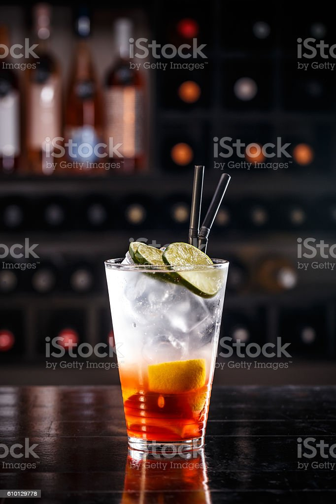 Red fruit cocktail stock photo