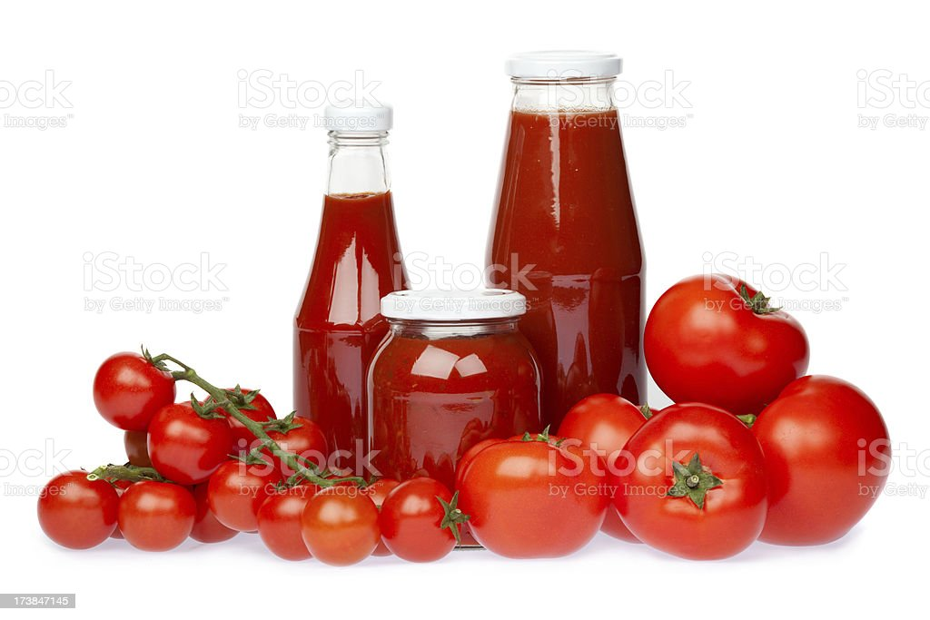 red fruit vegetable tomato chilli ketchup sauce isolated on whit stock photo