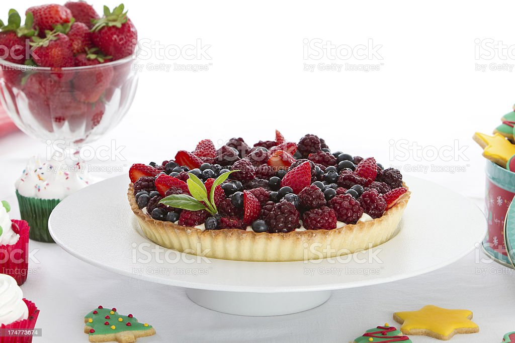 Red fruits and french cream pie royalty-free stock photo