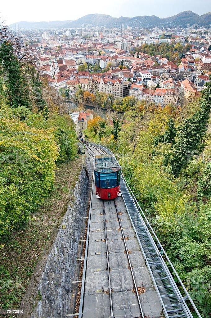 Red funicular in Graz, Austria stock photo