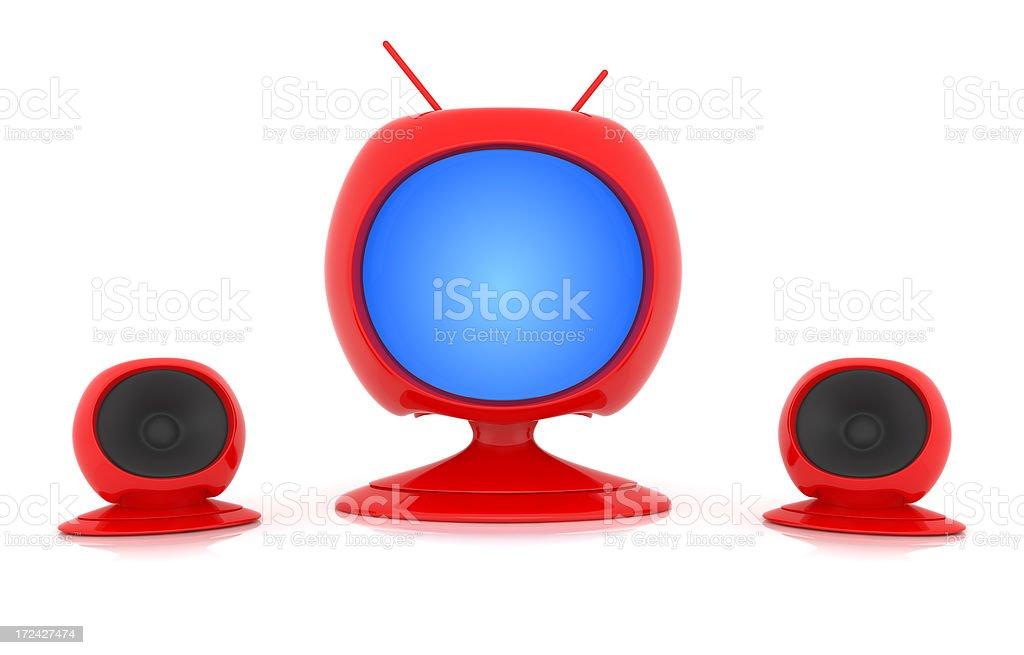 Red Futuristic TV stock photo
