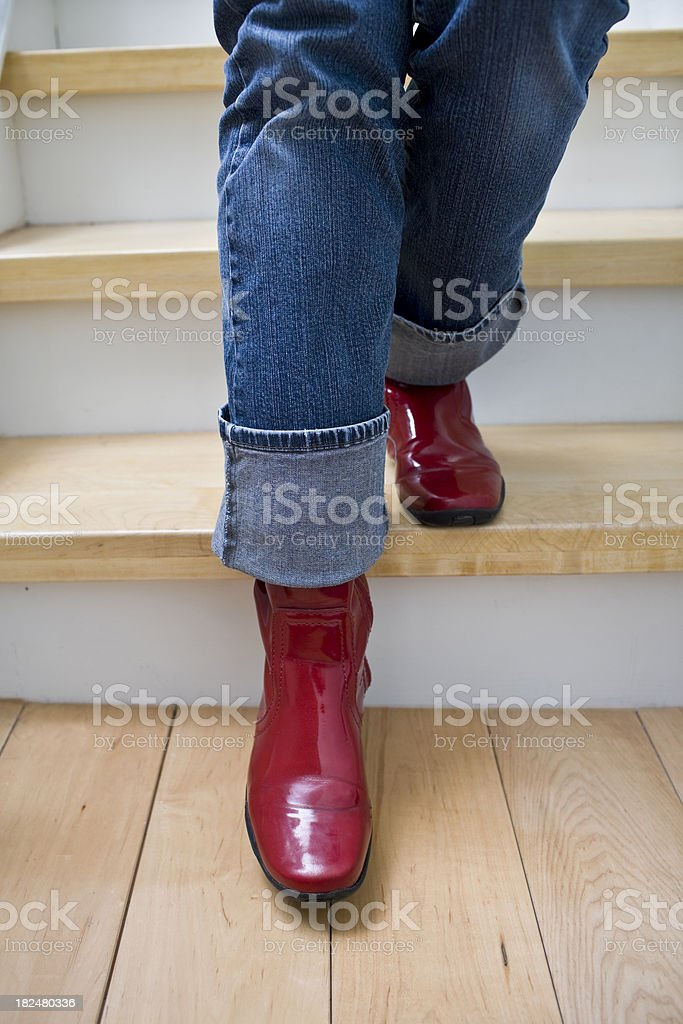 Red Galoshes royalty-free stock photo