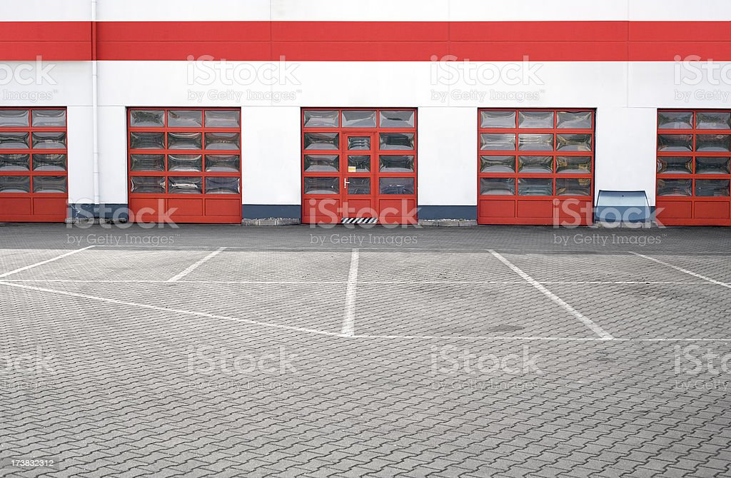 Red garage doors royalty-free stock photo