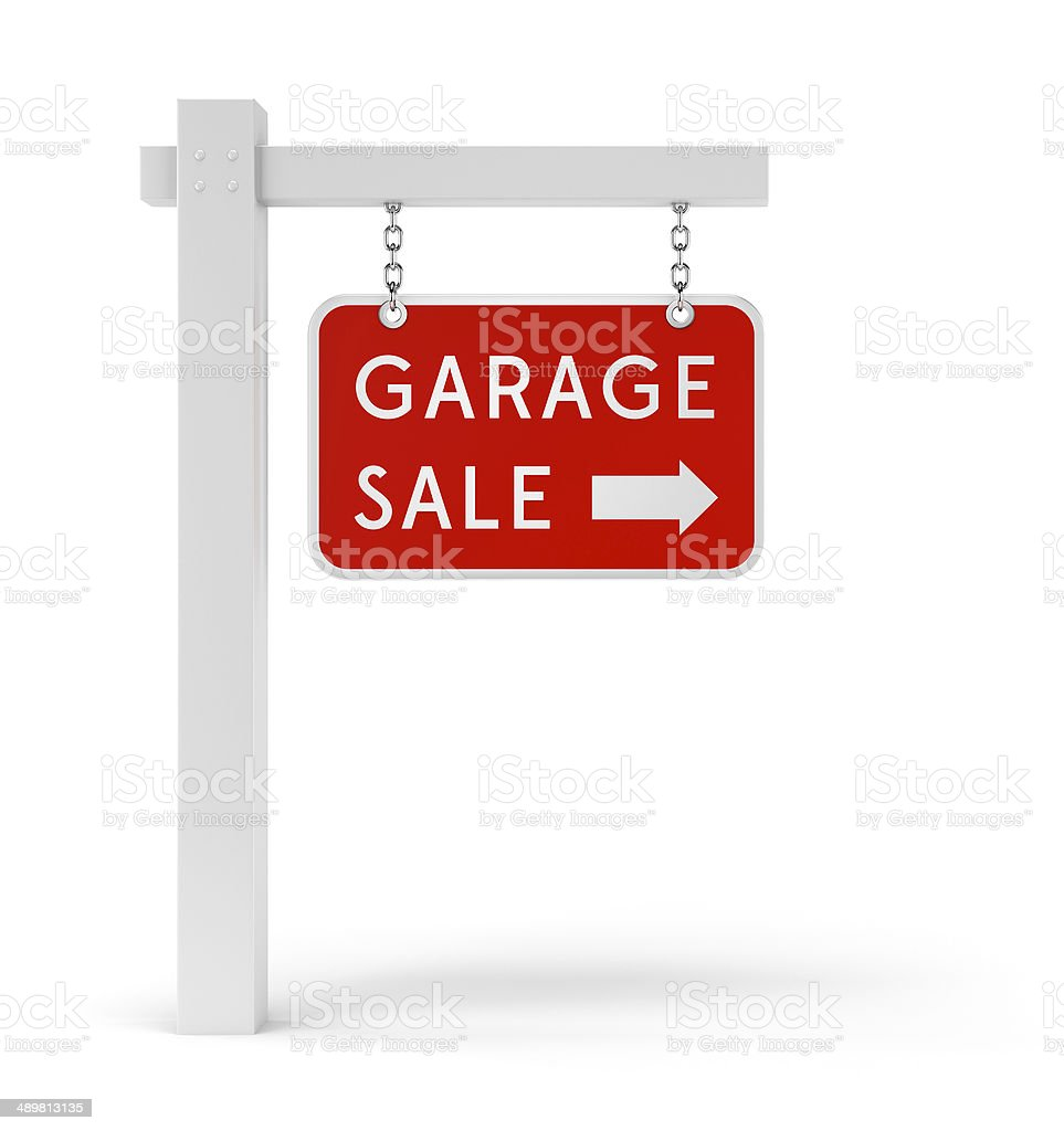 Red Garage Sale sign stock photo