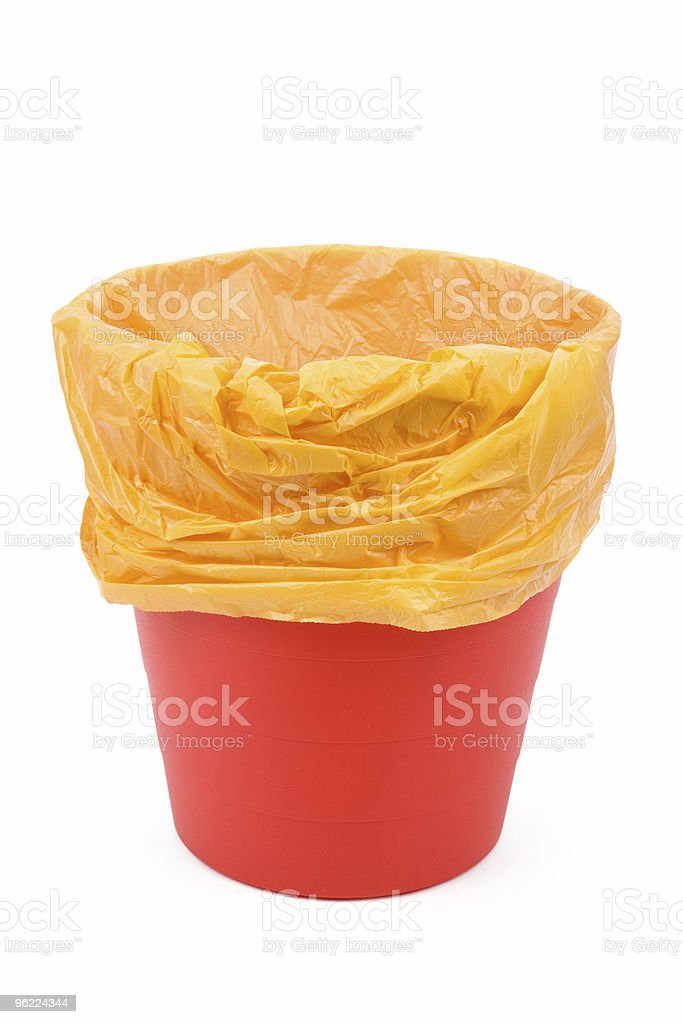 Red Garbage can stock photo