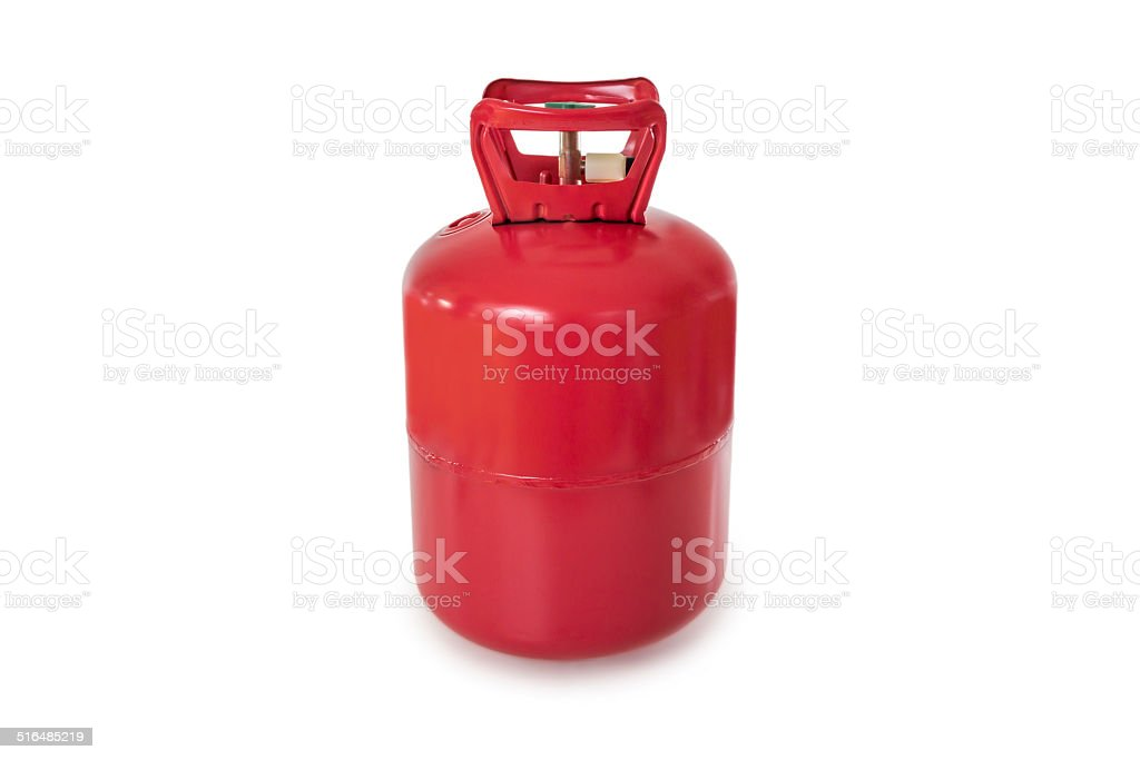 Red Gas Bottle on white stock photo