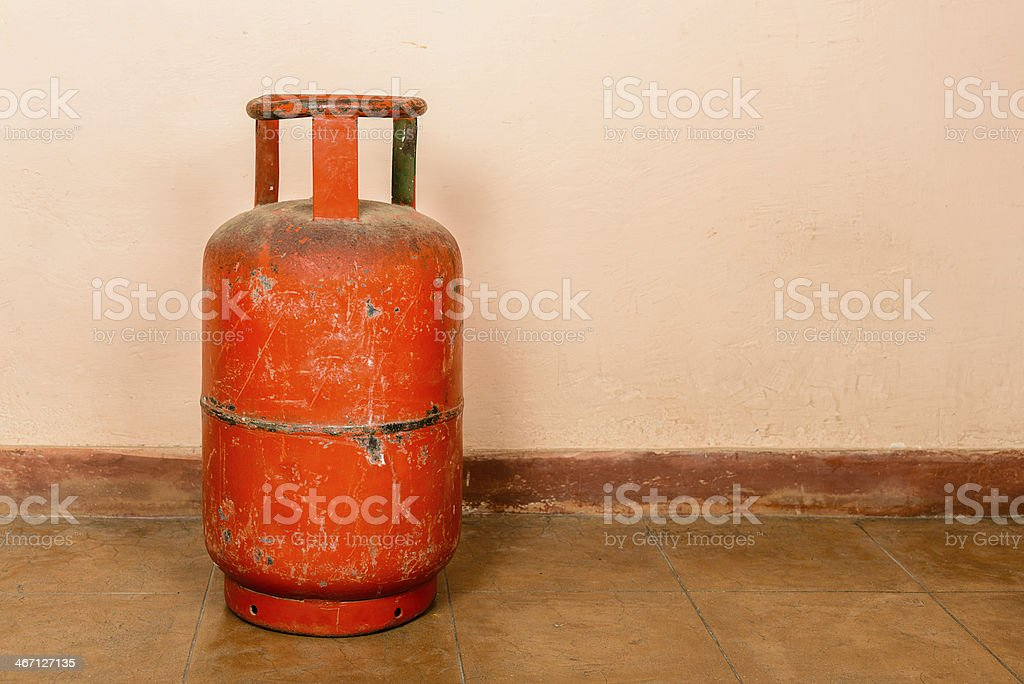 Red gas cylinder stock photo