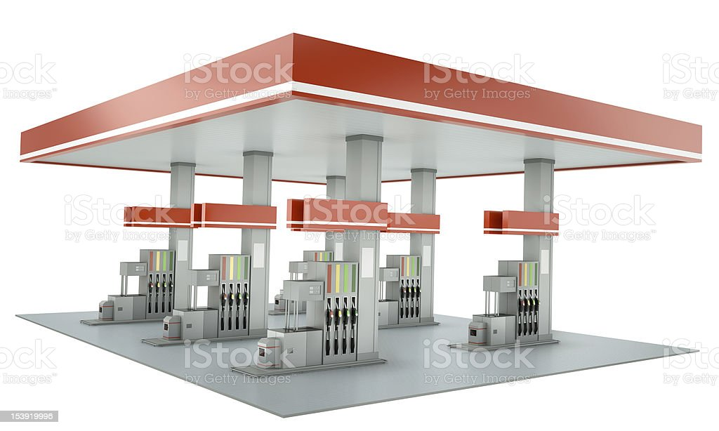 Red gas station building isolated on a white background stock photo