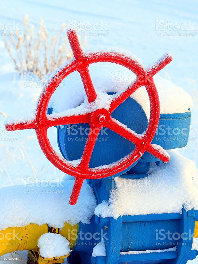 Red gas valve stock photo