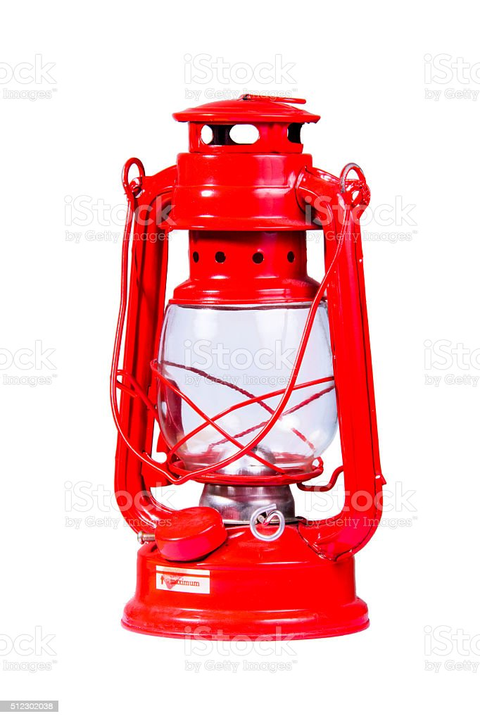 Red gasoline lamp stock photo