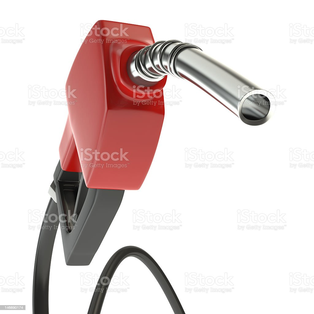 A red gasoline pump on a white background  royalty-free stock photo