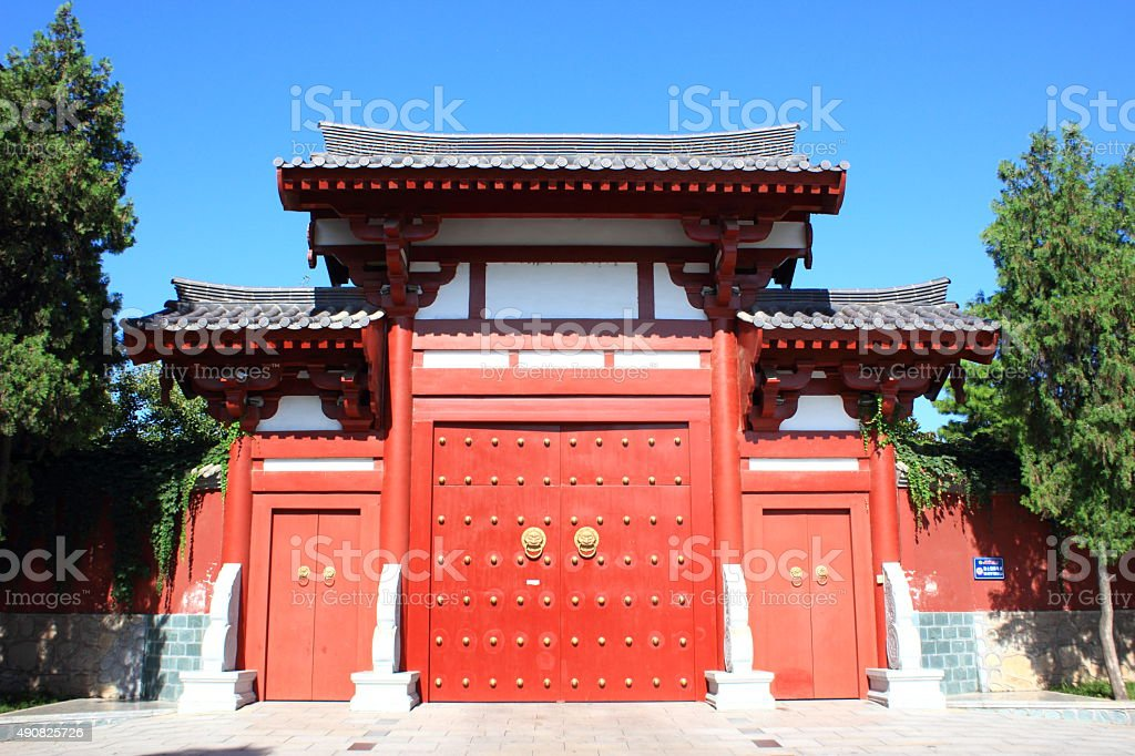 Red gate of Xi'an big wild goose pagoda stock photo
