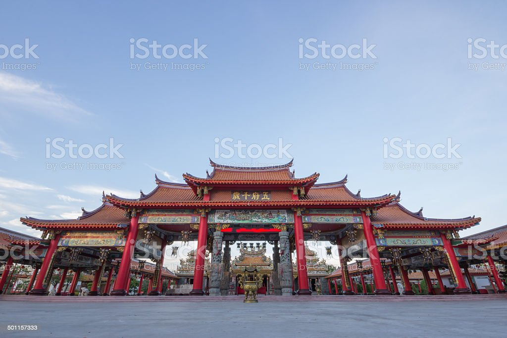 Red gateway of chinese temple stock photo