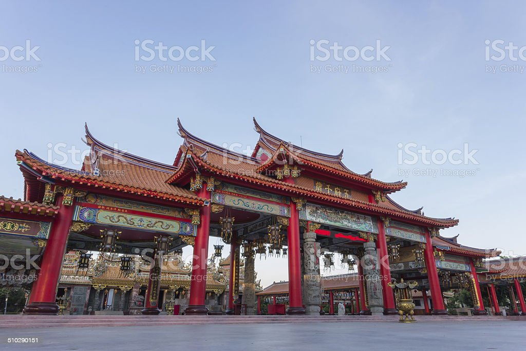 Red gateway of chinese temple, with blue sky stock photo