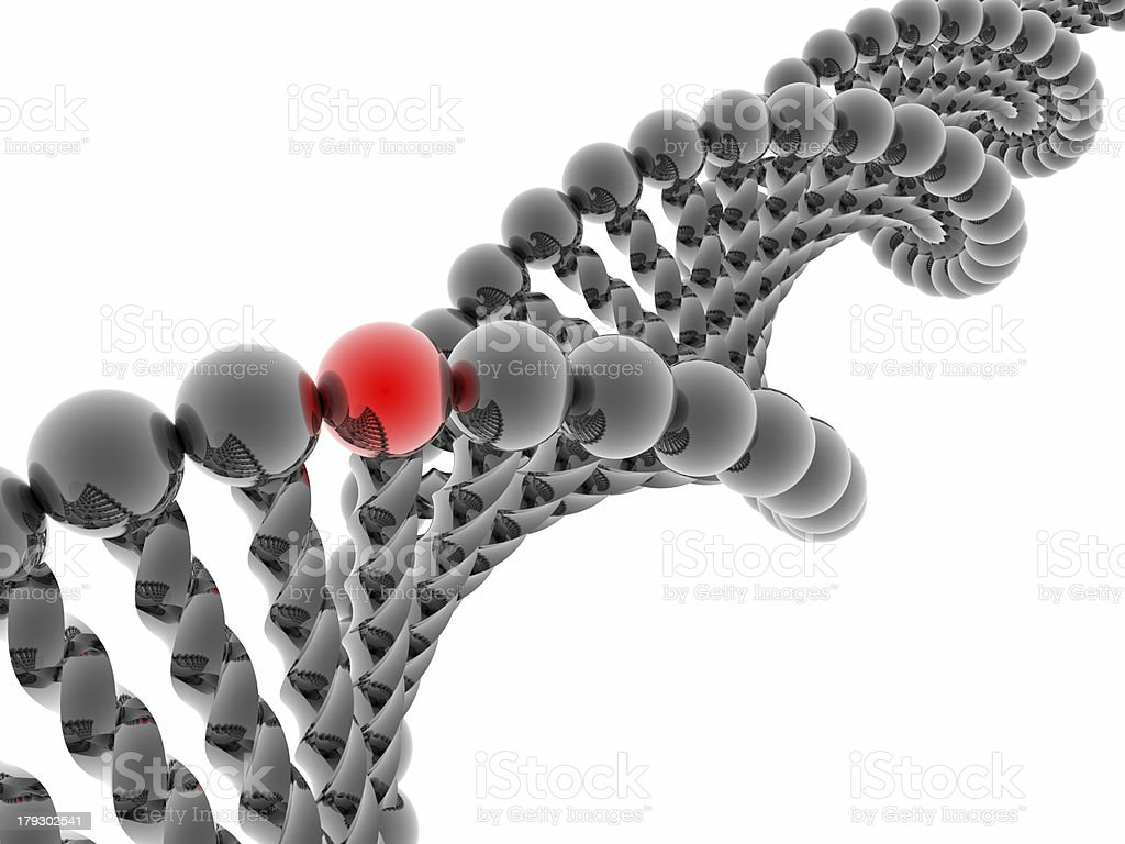Red gene in DNA royalty-free stock photo