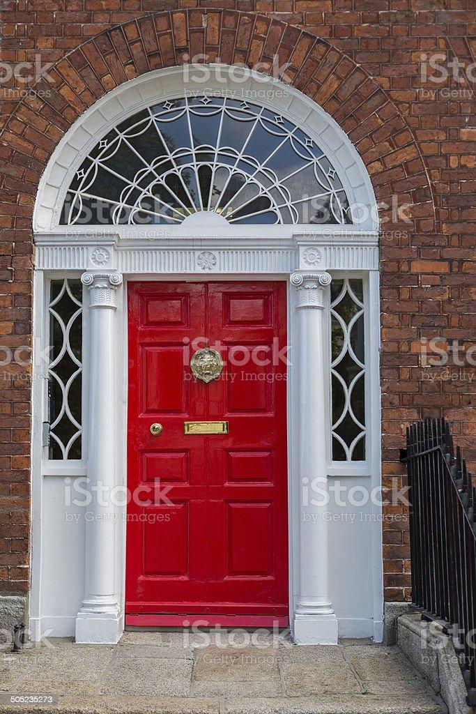 Red Georgian Door stock photo