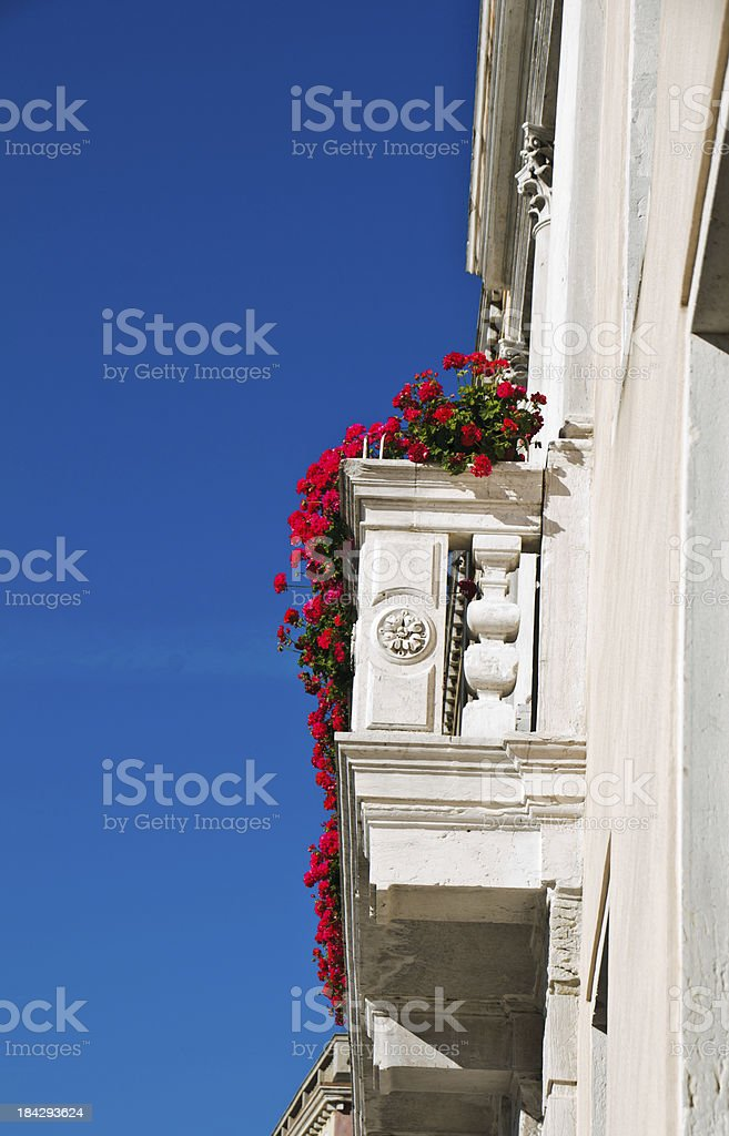 Red Geraniums on the Balcony royalty-free stock photo