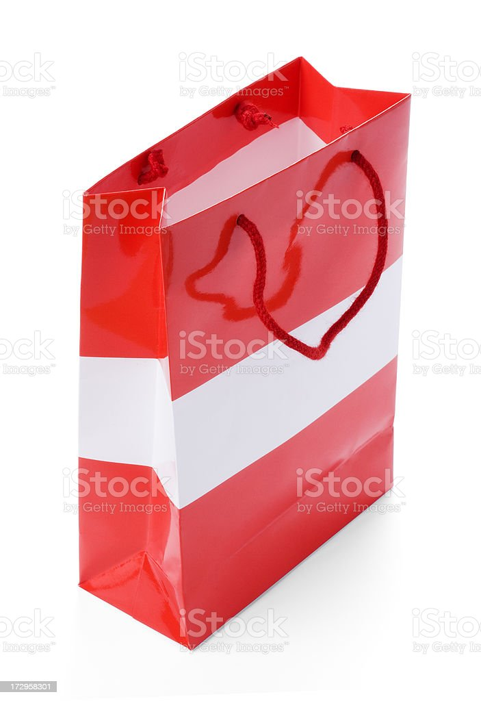 Red gift bag (clipping path) royalty-free stock photo