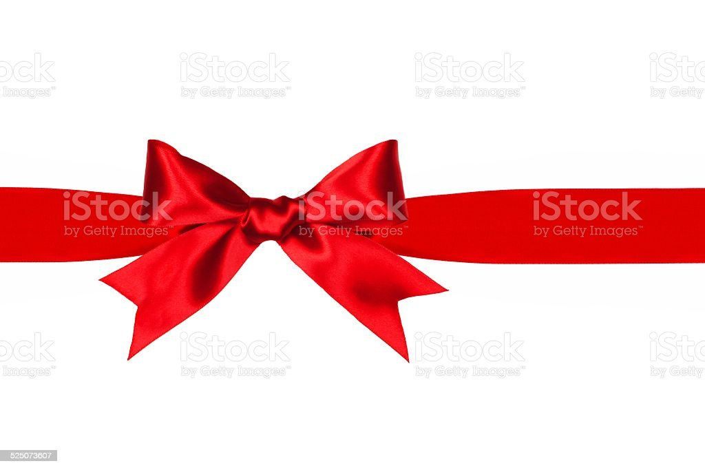 Red gift bow and ribbon isolated stock photo