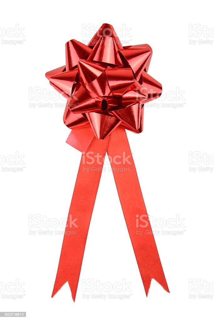 Red Gift Bow With Red Satin Ribbon stock photo