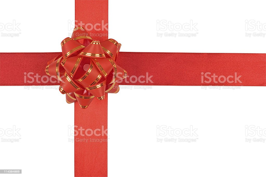 Red gift bow with ribbon (Clipping path) royalty-free stock photo