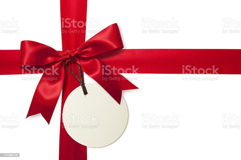 Red gift bow with tag stock photo