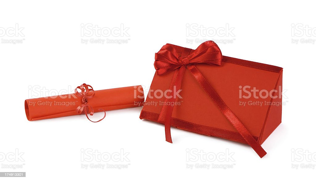 Red gift box and scroll royalty-free stock photo