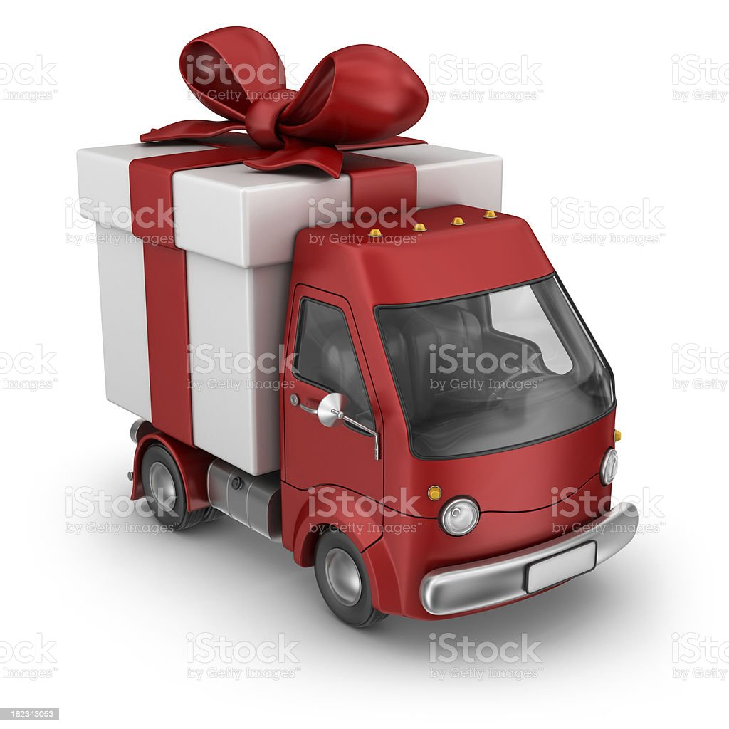 red gift box delivery van royalty-free stock photo