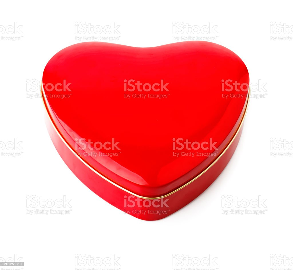 Red gift box in form of heart stock photo