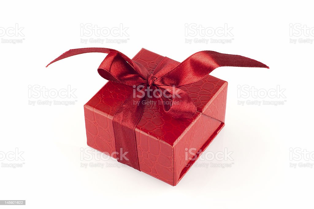 Red gift box, isolated royalty-free stock photo